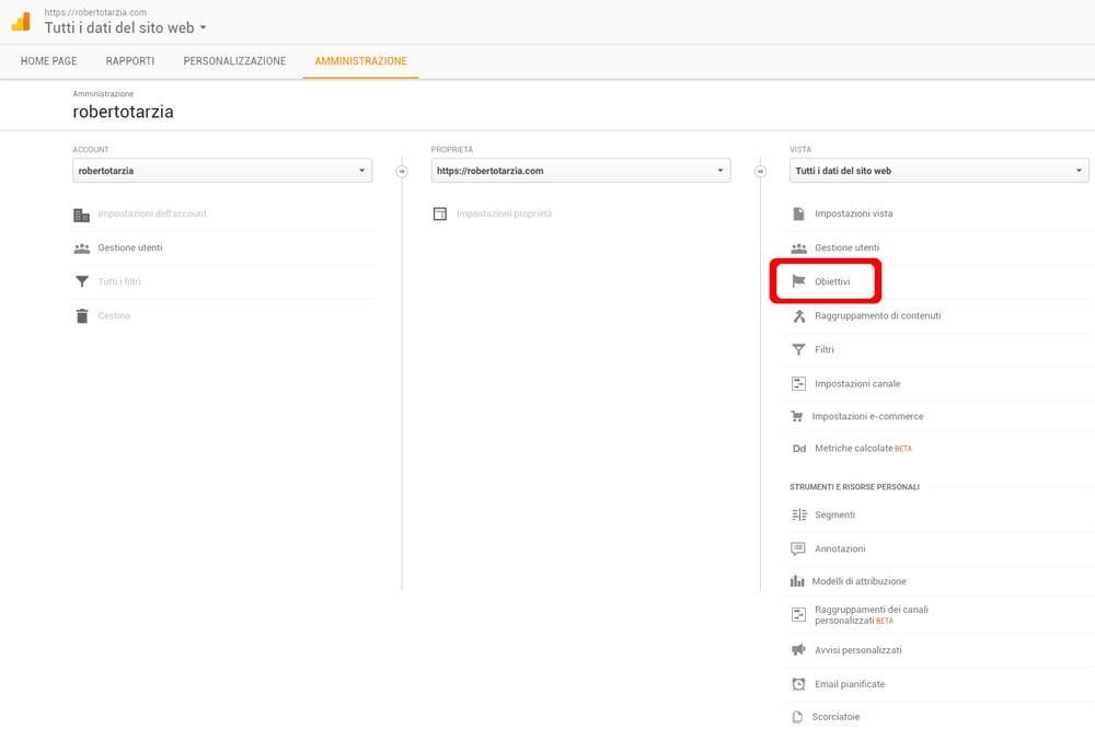 Inserire obiettivi in Google Analytics