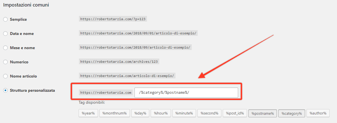 WordPress struttura permalink